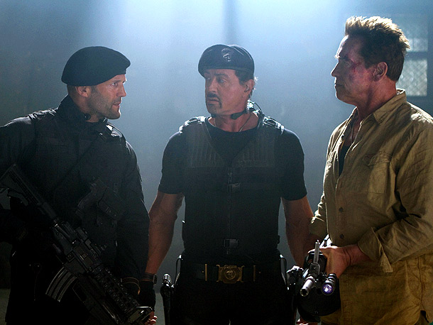 Jason+Statham%2C+Sylvester+Stallone%2C+and+Arnold+Schwarzenegger+in+%22The+Expendables+2.%22