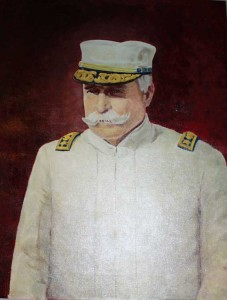 Portait of Admiral Dewey brought out for fresh air