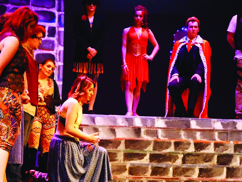 """A peasant (Danielle Godjikian) makes an appeal in the JSC production of """"Pippin"""""""
