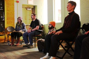 At the first meditation session in the SHAPE function room on Jan. 30, students and faculty focus on their thoughts.