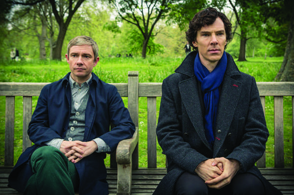 Sherlock (Benedict Cumberbatch) and Watson (Martin Freeman) demonstrate proper posture to their potentially well-rounded audience