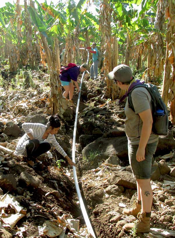 JSC students on February's Badger Alternative Break in Nicaragua lay piping to bring water to a town in Ometepe.