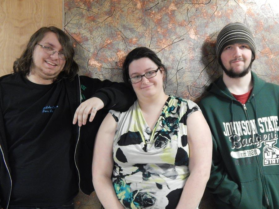 AV crew members Nathaniel Garland, Heather St. Arnault and Brady McNeil
