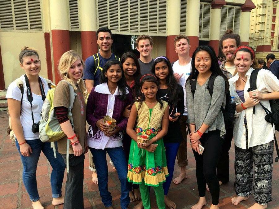 Miracle and Turco with  friends in India