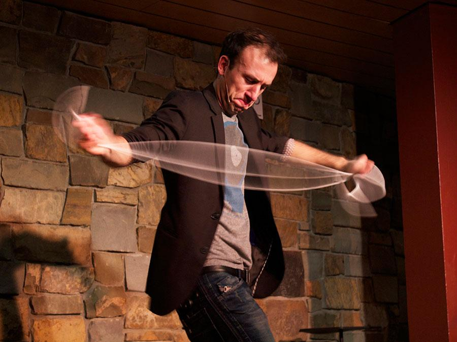 Peter Boie performs an illusion