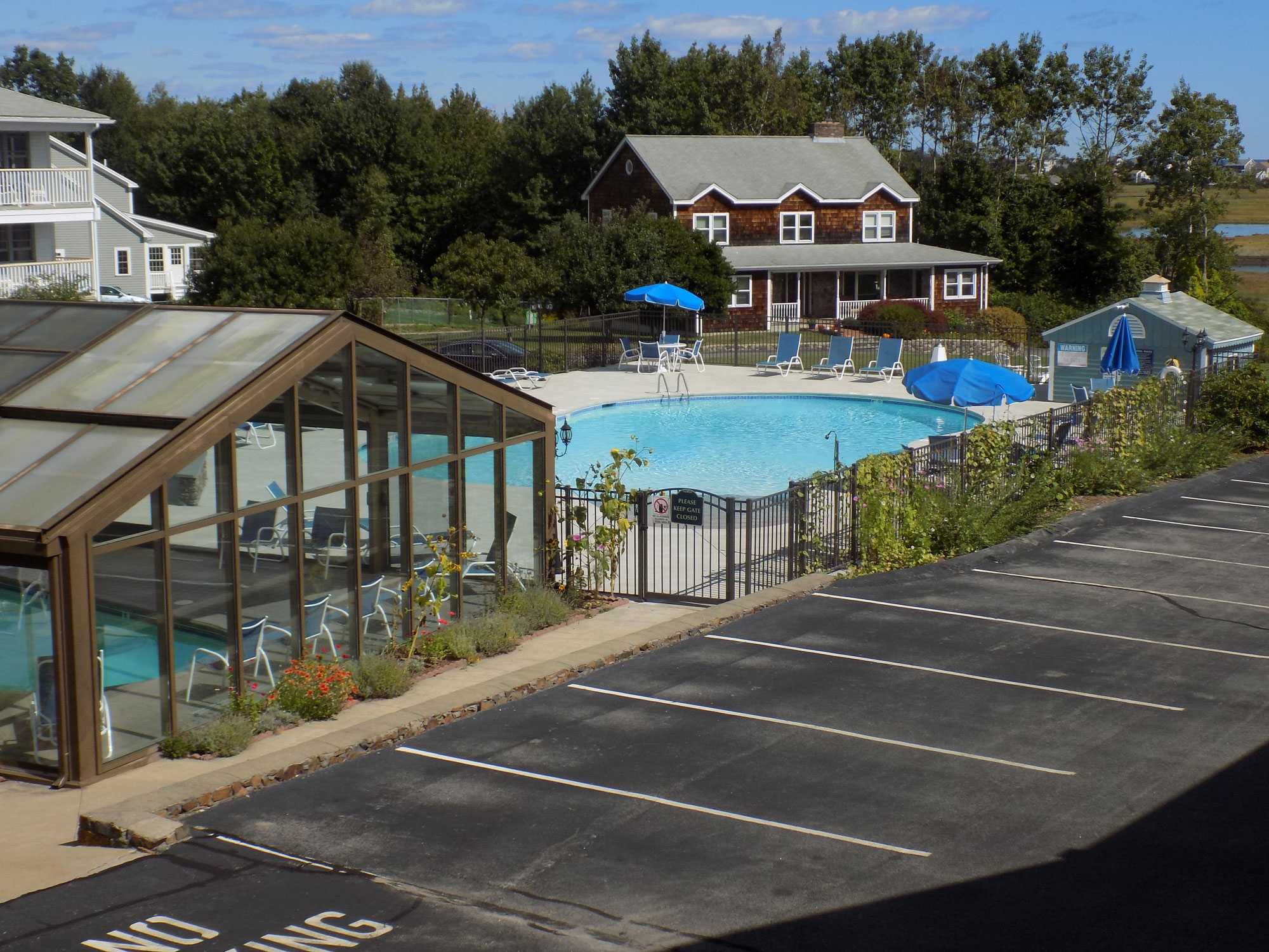 View of pool from motel balcony