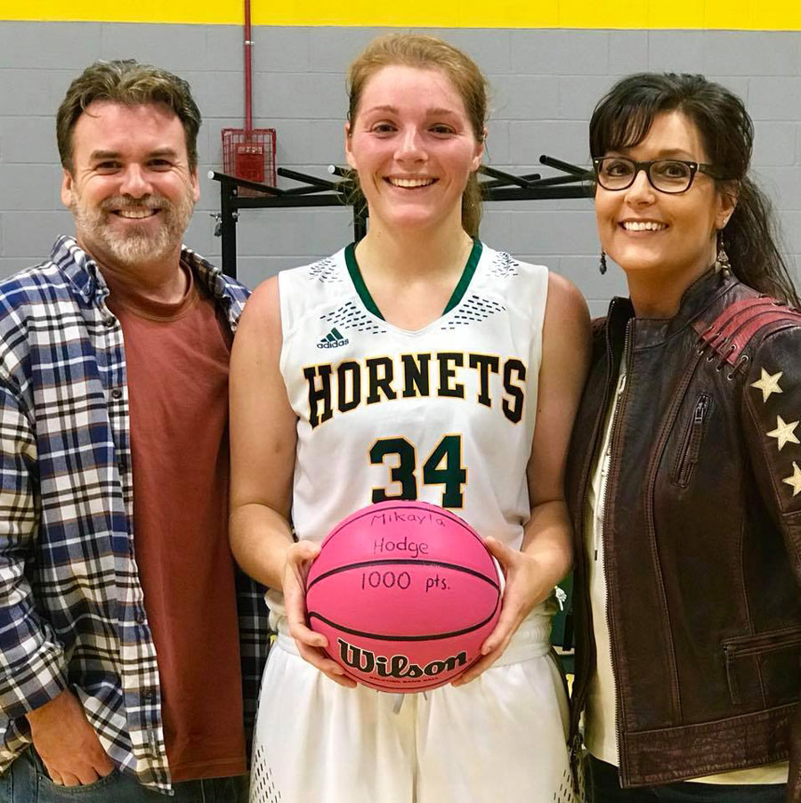 Mikayla Hodge with Kevin O'Reilly and Jackie Brock Hodge