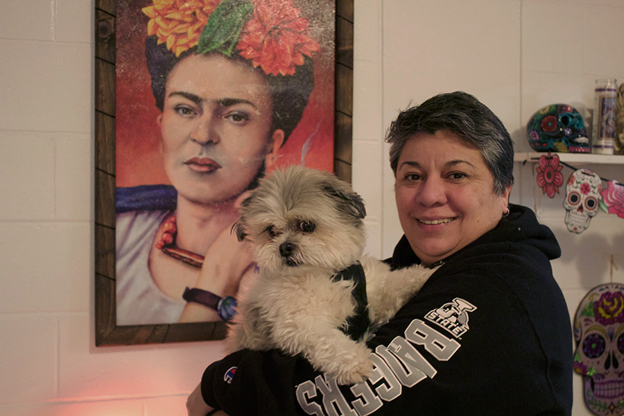 Norma Espinoza-Aguilar and her dog, Diego