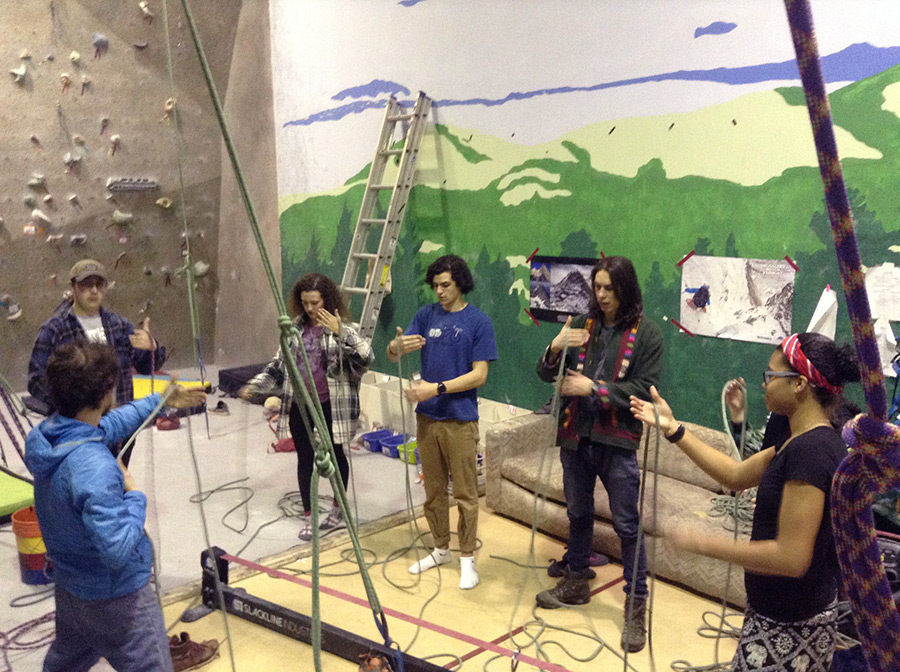 The JSC rock climbing club hones their knot tying skills