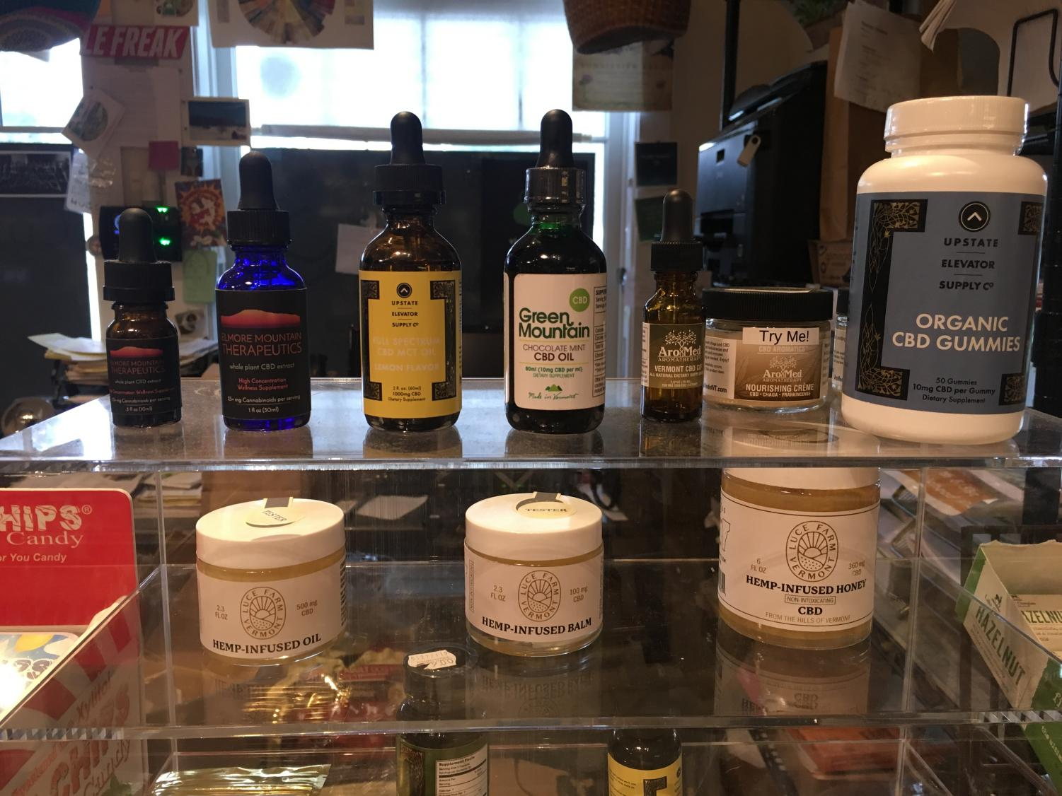 CBD display at Commodities Natural Market, Stowe, Vermont
