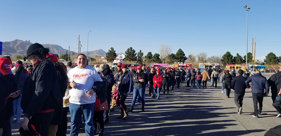 Long lines waiting to get into the El Paso County Coliseum