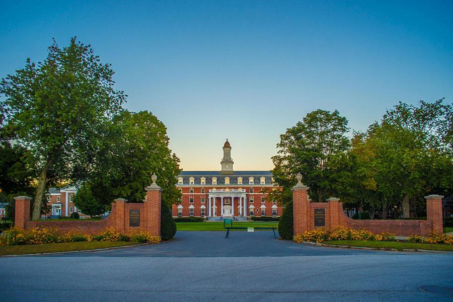 Green Mountain College's main quad
