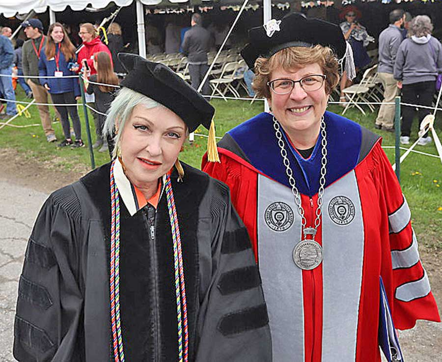 Cyndi Lauper and President Elaine Collins
