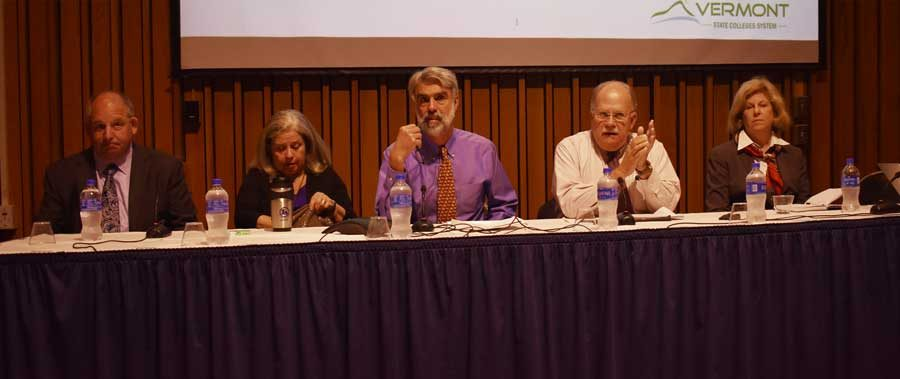 From left to right: David Silverman, Karen Luneau, Chancellor Jeb Spaulding, Board Chair Churchill Hindes, Lynn Dickinsen at the Sept. 13, 2019 white paper presentation meeting