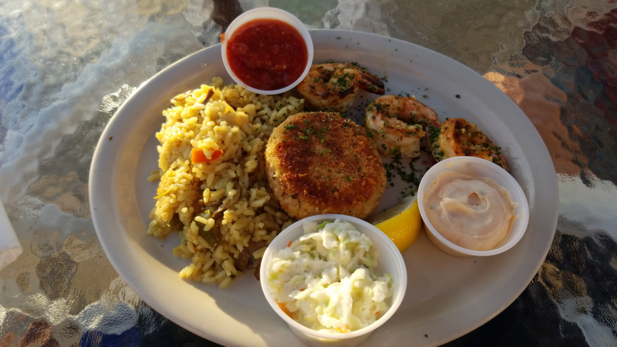 Baked Crab Cake and Jumbo Shrimp at The Shanty on the Shore.