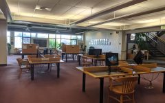 The lower lobby of Willey Library stands empty during the COVID pandemic.