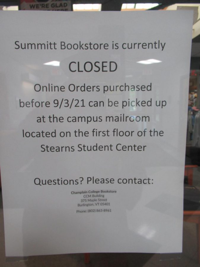 A sign noting the temporary closure of the NVU bookstore